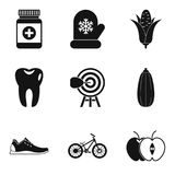 Wellness program icons set, simple style. Wellness program icons set. Simple set of 9 wellness program vector icons for web isolated on white background Stock Photography
