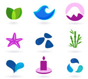 Wellness, relaxation and medical icons. Wellness, medical and relaxation icon set. Collection of 9 design elements inspired by water, nature, soul and meditation vector illustration