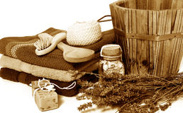 Wellness-SaunaSepia Stockfotografie