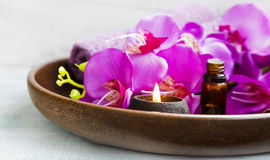 Wellness scent candle and spa products Stock Photos