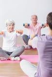 Wellness seniors workout. Photo of wellness seniors workout at gym royalty free stock photo
