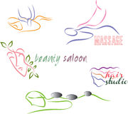 Wellness set. Color vector illustrations Royalty Free Stock Image