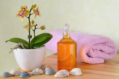Wellness set with massage oil. A decorative wellness set with orchid, massage oil, towel and shells royalty free stock images