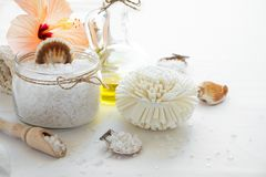 Wellness setting. Sea salt in glass, soap, towel, olive oil and flowers on white textured background. Stock Images