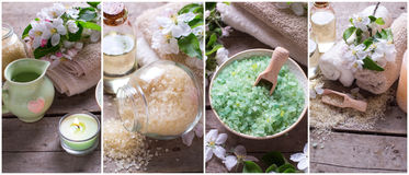Wellness site header. Cosmetic organic  products. Collage from spa photos.  Wellness site header. Cosmetic organic  products. Sea salt, bottles with aroma oil Stock Photo