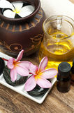 Wellness spa. Tropical spa concept with Plumeria flower on wooden board Royalty Free Stock Photo