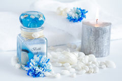 Wellness and spa. Accessories for wellness, spa or relaxing bath in blue tone Stock Images