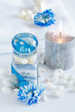Wellness and spa. Accessories for wellness, spa or relaxing bath in blue tone Royalty Free Stock Image
