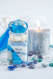 Wellness and spa. Accessories for wellness, spa or relaxing bath in blue tone Royalty Free Stock Images