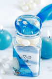 Wellness and spa. Accessories for wellness, spa or relaxing bath in blue tone Stock Photos
