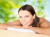 Close up of beautiful woman at spa royalty free stock photography