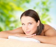 Close up of beautiful woman at spa stock image