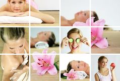 Wellness and spa collage stock photo