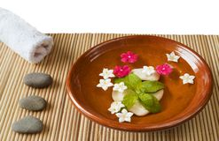 Wellness and spa: flowers,pebbles,water. Zen still life, isolated on white background Royalty Free Stock Image