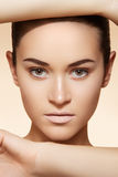 Wellness, spa & health. Model face with clean skin Royalty Free Stock Photos