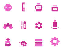Wellness and spa pink icons and elements Stock Images