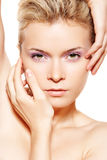 Wellness & Spa. Sensual Model With Violet Make-up Stock Photography