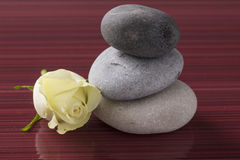 Wellness spa stones with yellow rose before burgundy background Royalty Free Stock Images