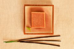 Wellness still life. Wellness still life wiht soap bar and incense sticks Royalty Free Stock Photo