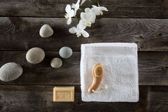 Wellness still life for dry brushing, wood background, flat lay Stock Images