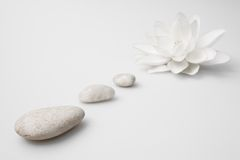 Wellness still life pebbles and white lily Royalty Free Stock Images