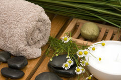Wellness stuff. Wellness decoration in my parents bathroom with towel and plant Stock Photo