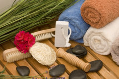 Wellness stuff. Some wellness stuff on one table-fast idea Royalty Free Stock Photos