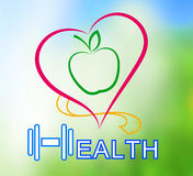 Wellness symbol. Healthy food and fitness leads to healthy Stock Image