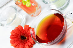 Wellness tea. Cup of wellness tea - relaxing and wellness Royalty Free Stock Photography