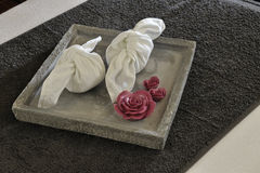 Wellness tray with towels Royalty Free Stock Photos