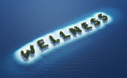 Wellness tropical islands. Aerial view of tropical islands spelling out word wellness in blue sea royalty free stock images