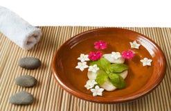 Wellness und Badekurort: Blumen, Kiesel, Wasser Lizenzfreies Stockbild