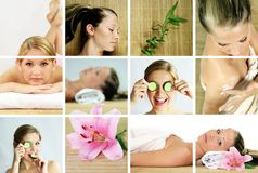 Wellness und Badekurortcollage Stockfotos