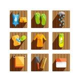 Wellness vector flat icons set Stock Photo