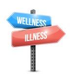 Wellness versus illness road sign illustration Royalty Free Stock Image