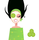 Wellness Woman with facial mask & cucumber  green Royalty Free Stock Photos