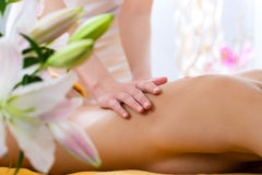 Wellness - woman getting body massage in Spa Stock Photography
