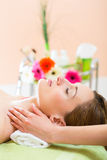 Wellness - woman getting head massage in Spa. Wellness - woman receiving head or face massage in spa Stock Photo