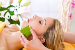 Wellness - woman having aloe vera application royalty free stock photo