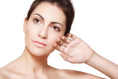 Wellness. Woman Model Face With Healthy Clean Skin Royalty Free Stock Image