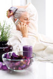 Wellness, woman relaxing in the beauty salon Stock Photos