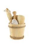 Wellness. A wooden bucket wellnes objects Stock Photo