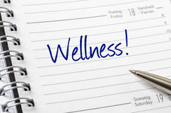 Wellness. Written on a calendar page Royalty Free Stock Photography