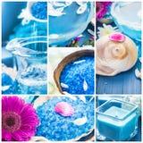 Wellnesscollagenblumenwasserbadsalzbadekurort-Reihe Stockfoto