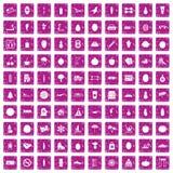 100 Wellnessikonen stellten Schmutzrosa ein Lizenzfreie Stockbilder