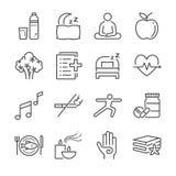 Wellnesslivlinje symbolsuppsättning Inklusive symbolerna som vatten, brunnsort, bra sömn, övning, mentala hälsor och mer stock illustrationer