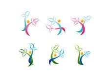 Wellnesslogoen, omsorgskönhetsymbolet, brunnsortsymbolshälsa, växt, den sunda folkuppsättningvektorn planlägger Royaltyfria Foton