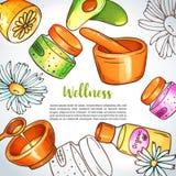 Wellnessmittillustration Hand drog brunnsort- och aromatherapybeståndsdelar Tecknade filmen skissar av den naturliga skönhetsmedl royaltyfri illustrationer