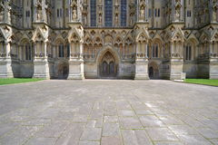 Wells cathedral. Front wall and entrance wells cathedral Royalty Free Stock Photos