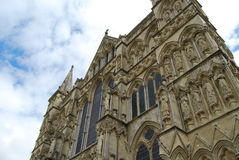 Wells cathedral. Facade of Wells Cathedral with black marble columns Royalty Free Stock Photo